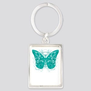 Cervical-Cancer-Butterfly-blk Portrait Keychain