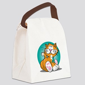 Cervical-Cancer-Cat-blk Canvas Lunch Bag