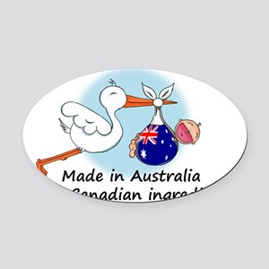 stork baby austr can Oval Car Magnet