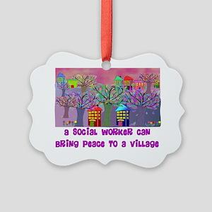 Village Social Worker Picture Ornament