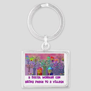 Village Social Worker Landscape Keychain