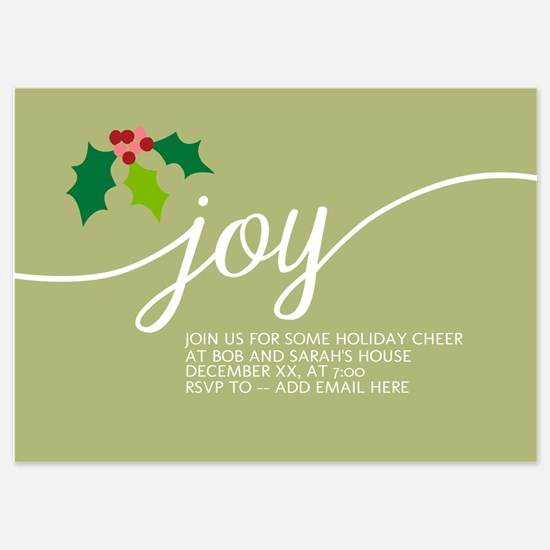 Joy Holly Green Invitations