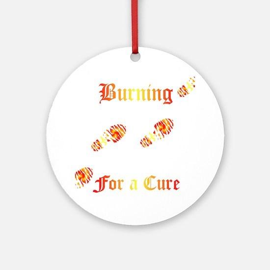 Burning4ACure_boot_EKGCafePress Round Ornament