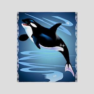 Orca Splash PosterP Throw Blanket