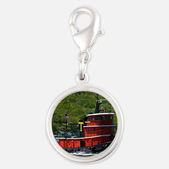 (14) sub tug Silver Round Charm