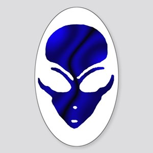 Black N Blue Alien Face Oval Sticker