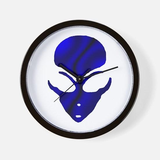 Black N Blue Alien Face Wall Clock