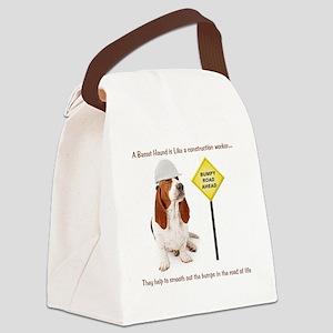 Basset Hound Construction Worker Canvas Lunch Bag