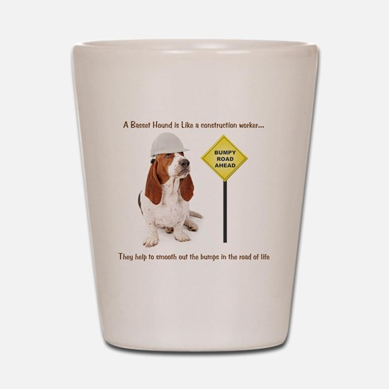 Basset Hound Construction Worker Shot Glass