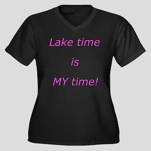 2-Laketimes Women's Plus Size Dark V-Neck T-Shirt