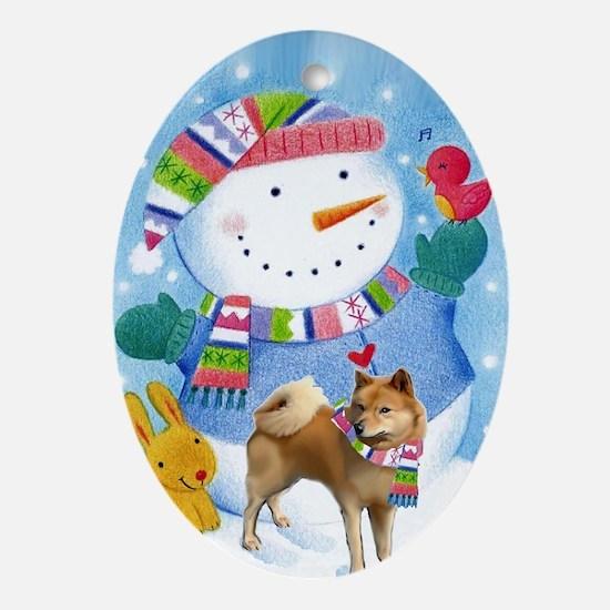 finnish spitz greeting card xmas Oval Ornament
