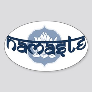 Namaste Lotus - Blue Sticker (Oval)