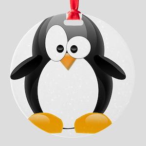 my penguin black  Round Ornament
