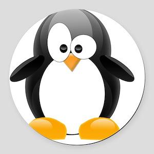 my penguin black  Round Car Magnet