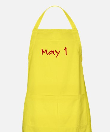 """May 1"" printed on a Apron"