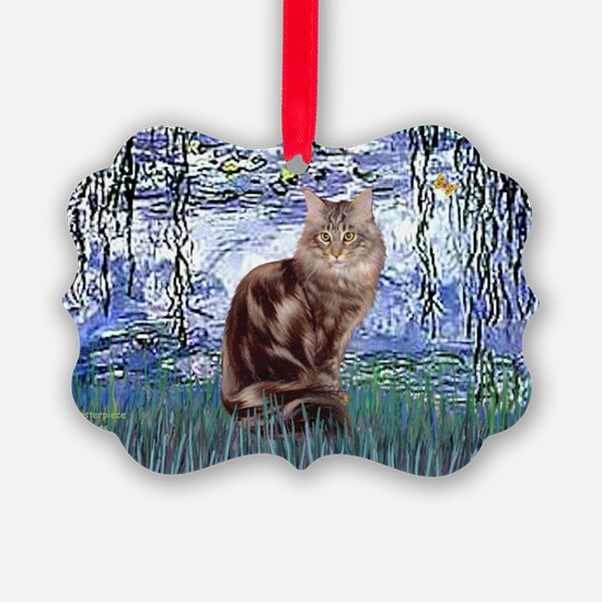 Lilies 6 - Maine Coon cat 10 Ornament