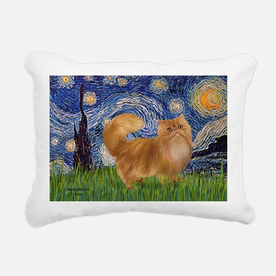 Starry Night - Red Persi Rectangular Canvas Pillow