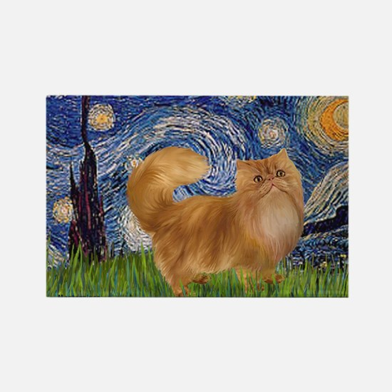 Starry Night - Red Persian cat Rectangle Magnet