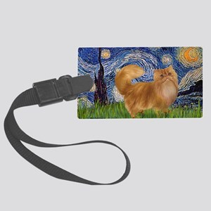 Starry Night - Red Persian cat Large Luggage Tag