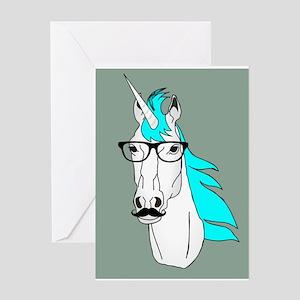 Hipster Unicorn Funny Humor Kawaii Greeting Cards