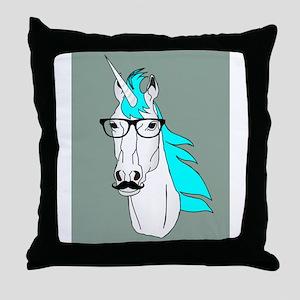 Hipster Unicorn Funny Humor Kawaii Throw Pillow