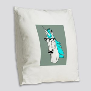 Hipster Unicorn Funny Humor Kawaii Burlap Throw Pi