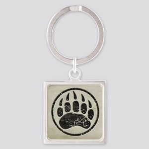 grizzly-paw-print Square Keychain