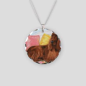 Irish Setter Dog Necklace Circle Charm