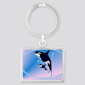 Orca Mom and Baby-oval_sticker Landscape Keychain