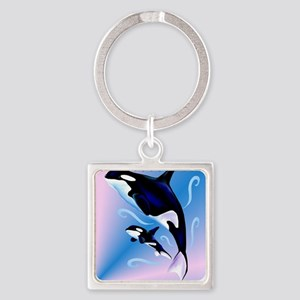 Orca Mom and Baby_pillow Square Keychain