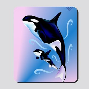 Orca Mom and Baby_journal Mousepad