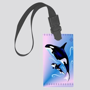 Orca Mom and Baby_journal Large Luggage Tag