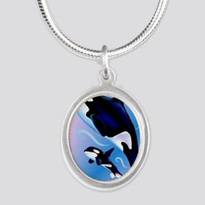 Orca Mom and Baby_journal Silver Oval Necklace