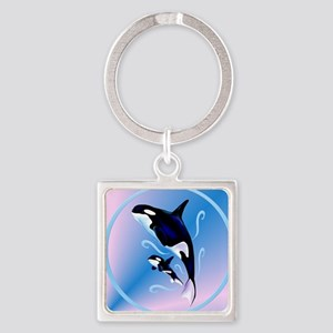 Orca Mom and Baby circle Square Keychain