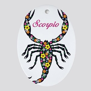 flowered scorpion thong Oval Ornament