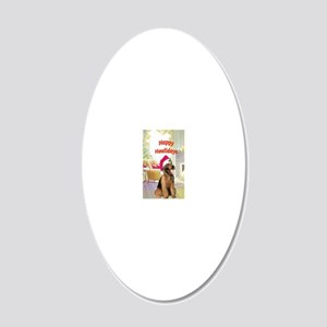 2-airedale card 20x12 Oval Wall Decal