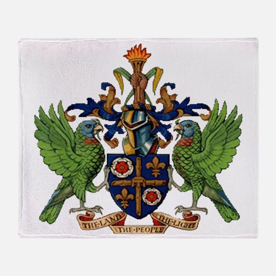 Coat_of_arms_of_saint_lucia Throw Blanket