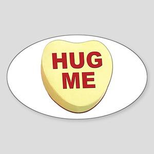 Hug Me Valentine Candy Heart Oval Sticker