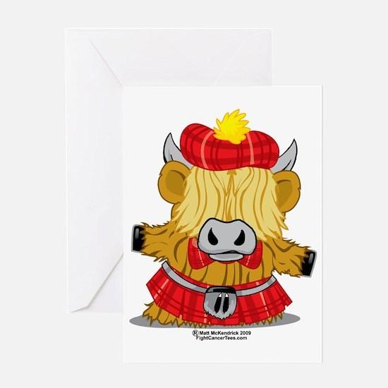 Highland-Cow-Red-Kilt-2009 Greeting Card