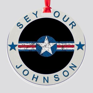 Seymour Johnson boxer4x6 Round Ornament