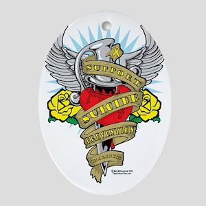 Suicide-Prevention-Dagger Oval Ornament