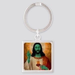 Zombie Jesus Loves Brains Square Keychain