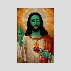 Zombie Jesus Loves Brains Rectangle Magnet