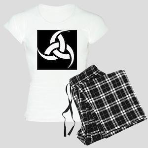 Triple Horn wht on blk Women's Light Pajamas