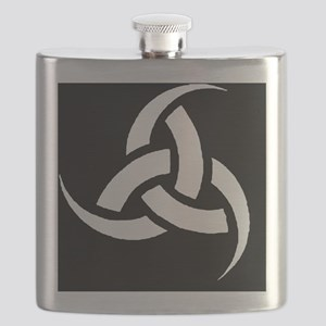 Triple Horn wht on blk Flask