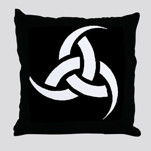 Triple Horn wht on blk Throw Pillow