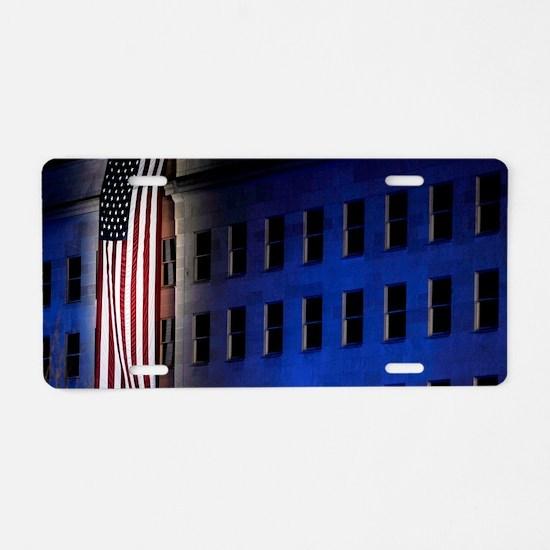 Pentagon Memorial Flag Aluminum License Plate