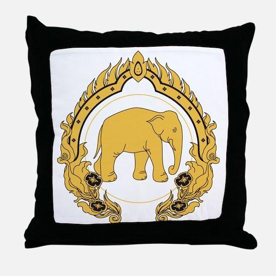 Thai-elephant-gold-black Throw Pillow
