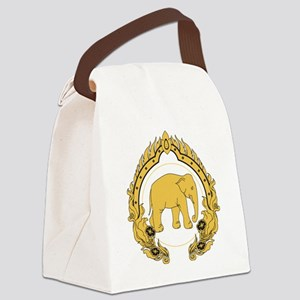 Thai-elephant-gold-black Canvas Lunch Bag