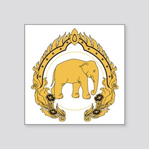"Thai-elephant-gold-black Square Sticker 3"" x 3"""